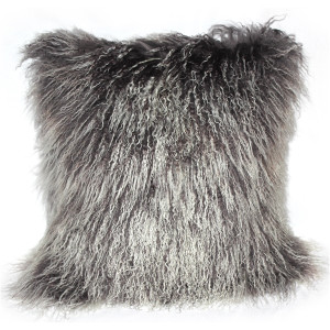 Mongolian Sheepskin Frosted Gray Throw Pillow