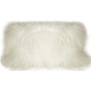 Mongolian Sheepskin Snow White Rectangular Throw Pillow