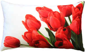 Spring Tulips Throw Pillow 12x19