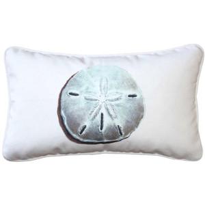 Ponte Vedra Sand Dollar on White Throw Pillow 12x20