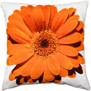 Bold Daisy Flower Orange Throw Pillow 20X20