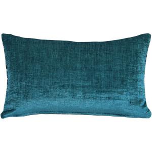 Venetian Velvet Peacock Teal Throw Pillow 12x20