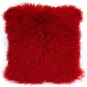 Mongolian Sheepskin Bright Red Throw Pillow