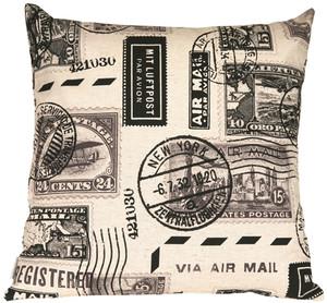 Vintage Postage Stamp Gray 22x22 Throw Pillow