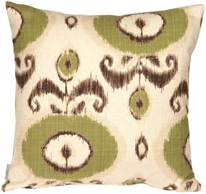 Bold Green Ikat 20x20 Throw Pillow