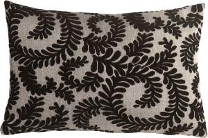 Brackendale Ferns Black Rectangular Throw Pillow