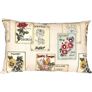 Vintage Seed Packet 16x24 Throw Pillow