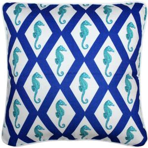 Capri Blue Argyle Seahorse Throw Pillow 20x20