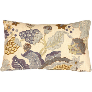 Harvest Floral Blue 12x20 Throw Pillow