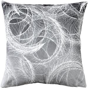 Feather Swirl Gray Throw Pillow 20x20