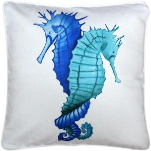 Capri Entwined Seahorses Throw Pillow 20x20