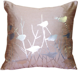 Metallic Birds Faded Rose Throw Pillow
