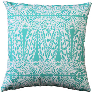 Partridge Stamp Blue Throw Pillow 20x20