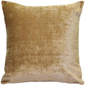 Venetian Velvet Golden Brown Throw Pillow 20x20