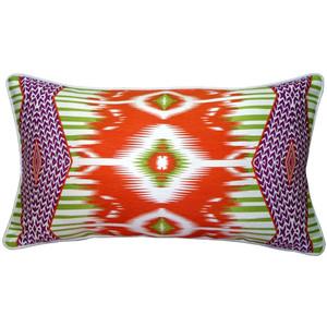 Eclectic Ikat Orange 15x27 Throw Pillow