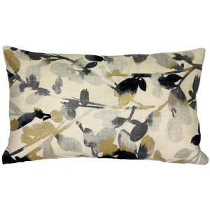 Linen Leaf Graphite Gray Throw Pillow 12x20