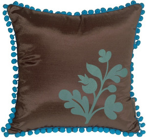 Bohemian Blossom, Brown and Blue Throw Pillow