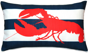 Red Lobster Nautical Throw Pillow 12x19