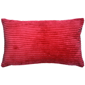 Wide Wale Corduroy 12x20 Raspberry Red Throw Pillow