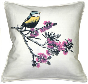 Bird on Cherry Blossom Branch 16x16 Throw Pillow