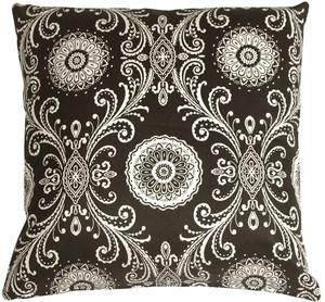 Filigree Black 17x17 Throw Pillow