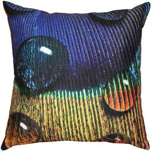 Peacock Splash BGY Throw Pillow 20x20