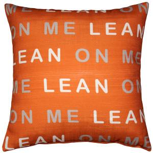 Lean On Me Orange Throw Pillow 17x17