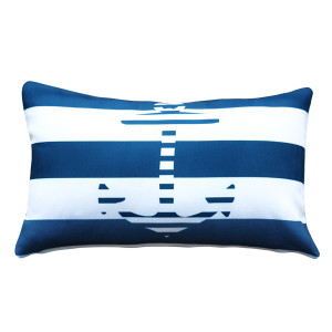 Blue Anchor Nautical Throw Pillow 12x19