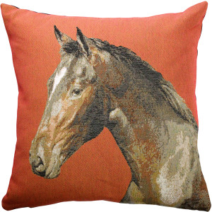 Horse Head French Tapestry Throw Pillow
