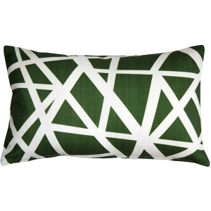 Birds Nest Green Throw Pillow 12x19