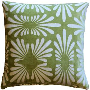 Velvet Daisy Green 20x20 Throw Pillow