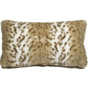Tawny Lynx Faux Fur 12x20 Throw Pillow