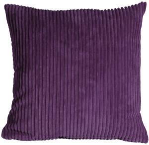 Wide Wale Corduroy 22x22 Purple Throw Pillow