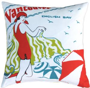 English Bay Bather Indoor Outdoor Throw Pillow