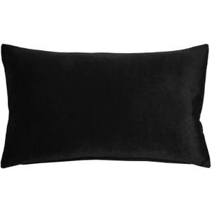 Castello Black 12x20 Inch Rectangular Velvet Throw Pillow