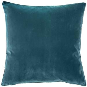 Castello Teal Blue Velvet 20 Inch Square Throw Pillow