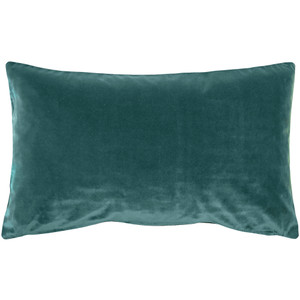 Castello Teal Blue 12x20 Inch Rectangular Velvet Throw Pillow