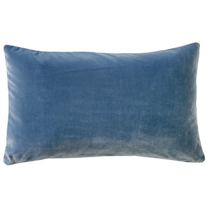 Castello Provincial Blue 12x20 Inch Rectangular Velvet Throw Pillow