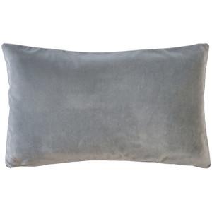 Castello Silver Gray 12x20 Inch Rectangular Velvet Throw Pillow