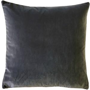 Castello Graphite Gray Velvet 20 Inch Square Throw Pillow