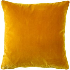 Castello Deep Yellow Velvet 17 Inch Square Throw Pillow