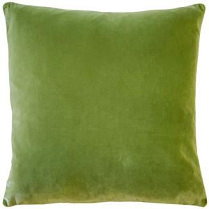 Castello Summer Green Velvet 17 Inch Square Throw Pillow