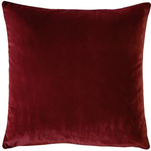 Castello Burgundy Velvet 17 Inch Square Throw Pillow