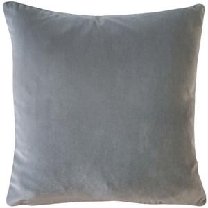 Castello Silver Gray Velvet 17 Inch Square Throw Pillow
