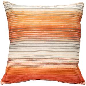 Sedona Stripes Orange 17 Inch Square Throw Pillow