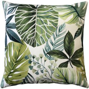 Thai Garden Green Leaf Throw Pillow 20x20
