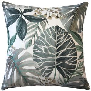 Thai Garden Gray Leaf Throw Pillow 20x20
