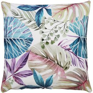Thai Garden Blue Leaf Throw Pillow 20x20
