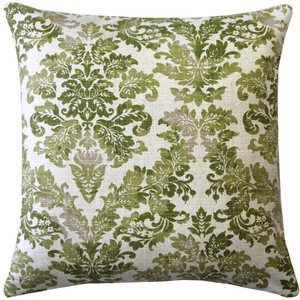 Calliope Green Damask Pattern Throw Pillow 20x20