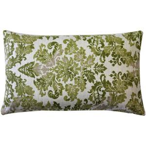 Calliope Green Damask Pattern Throw Pillow 12x20